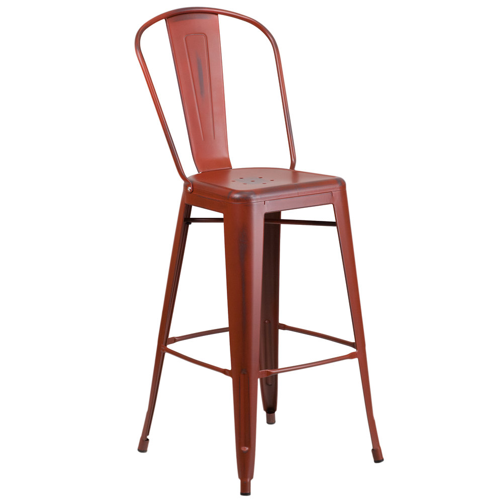 Flash Furniture ET-3534-30-RD-GG Distressed Kelly Red Metal Bar Height Stool  with Vertical Slat ... - Furniture ET-3534-30-RD-GG Distressed Kelly Red Metal Bar Height