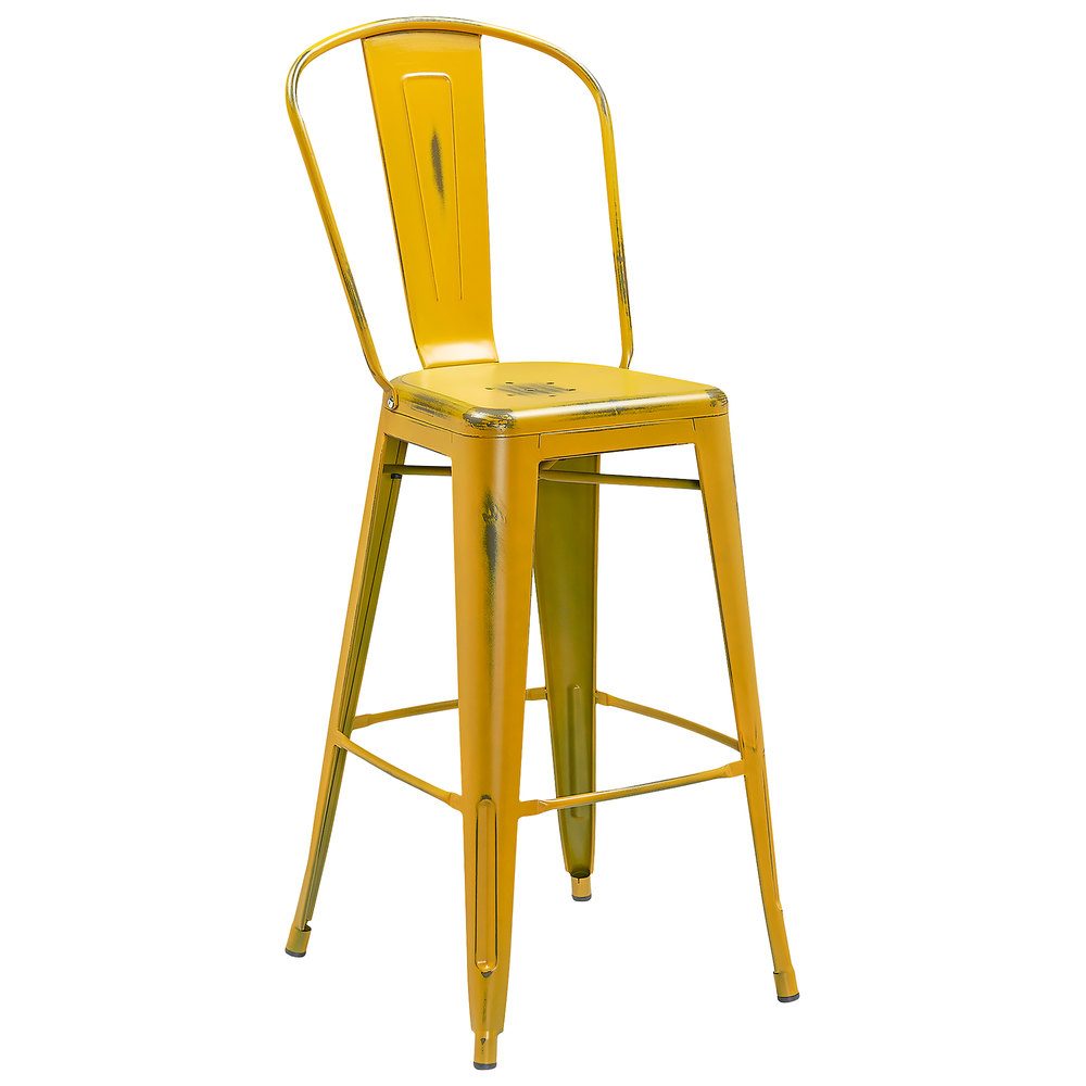 Distressed Yellow Metal Bar Height Stool With Vertical