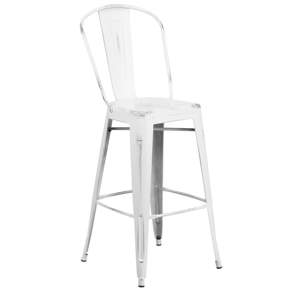 distressed white metal bar height stool with vertical slat back and drain hole seat. Black Bedroom Furniture Sets. Home Design Ideas