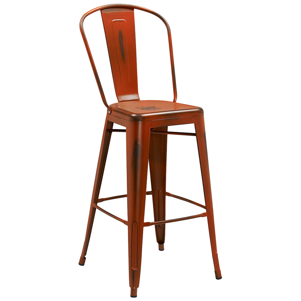 Distressed Orange Metal Bar Height Stool With Vertical