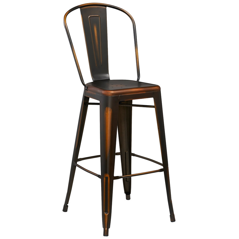Distressed Copper Metal Bar Height Stool with Vertical  : 789170 from www.webstaurantstore.com size 1000 x 1000 jpeg 47kB