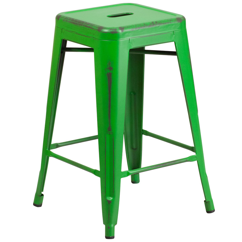 Distressed Green Stackable Metal Counter Height Stool with  : 789269 from www.webstaurantstore.com size 1000 x 1000 jpeg 63kB