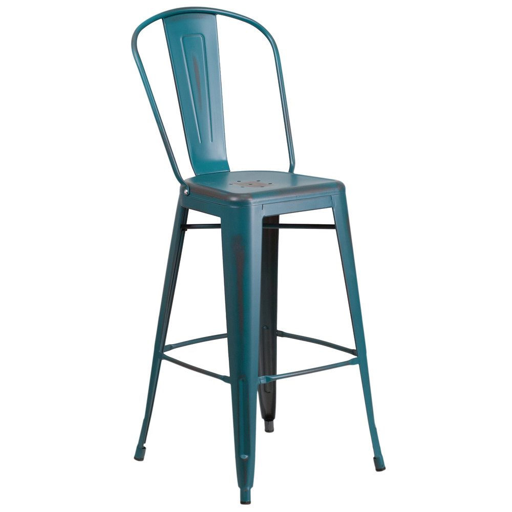 Distressed kelly blue teal metal bar height stool with vertical slat back and drain hole seat - Teal blue bar stools ...
