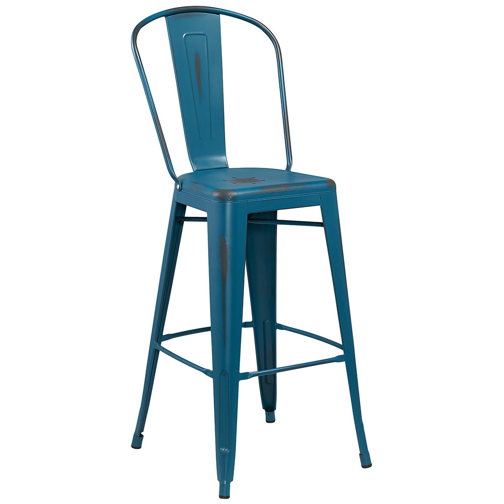 Distressed Kelly Blue Metal Bar Height Stool With Vertical