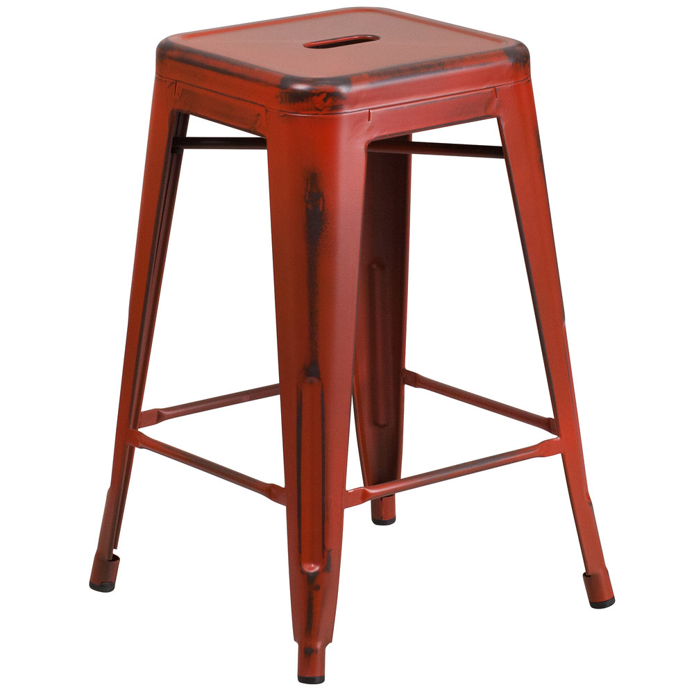 Distressed Kelly Red Stackable Metal Counter Height Stool