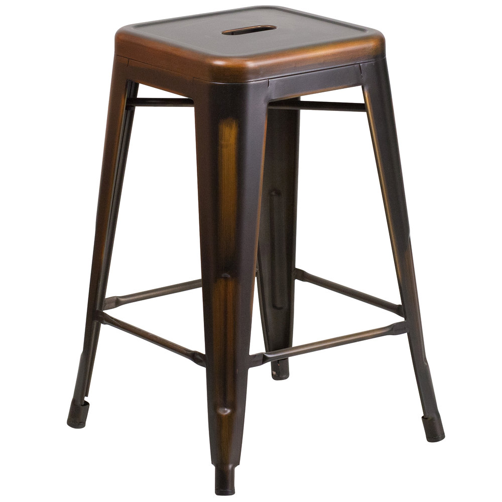 Distressed Copper Stackable Metal Counter Height Stool