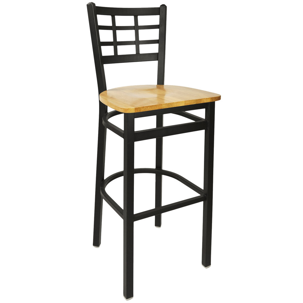 BFM Seating 2163BNTW SB Marietta Sand Black Metal Bar Height Chair With Natur