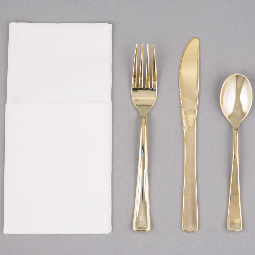 Visions Gold Heavy Weight Plastic Cutlery Set With White