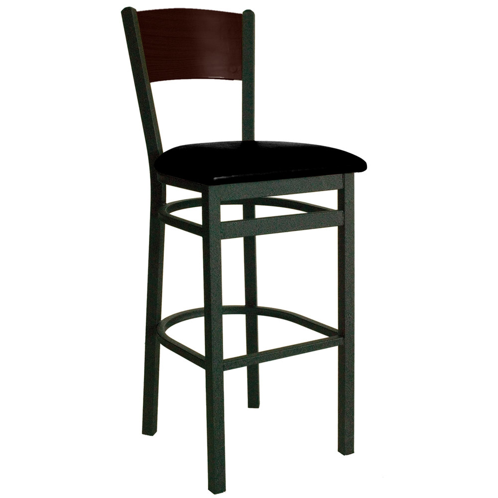 "BFM Seating 2150BBLV-WASB Dale Sand Black Metal Bar Height Chair with Walnut Finish Wooden Back and 2"" Black Vinyl Seat"