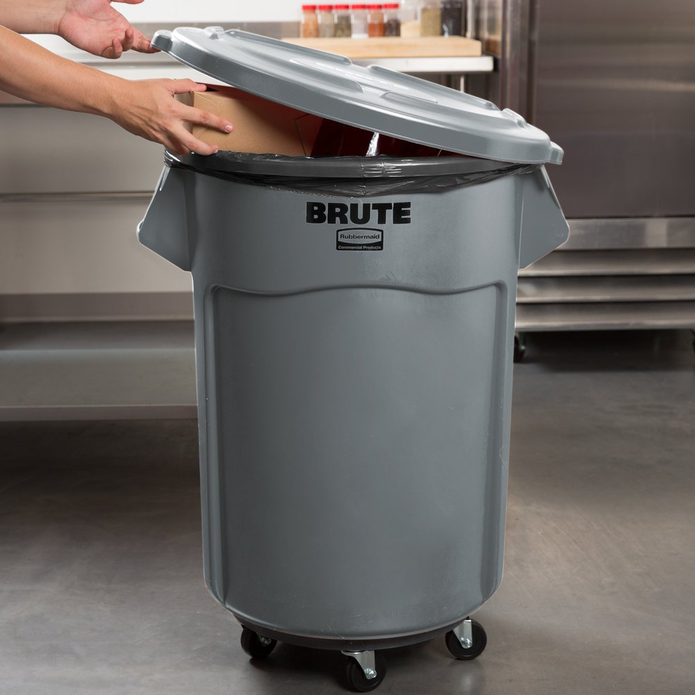 Rubbermaid Brute 55 Gallon Gray Trash Can Lid And Dolly Kit
