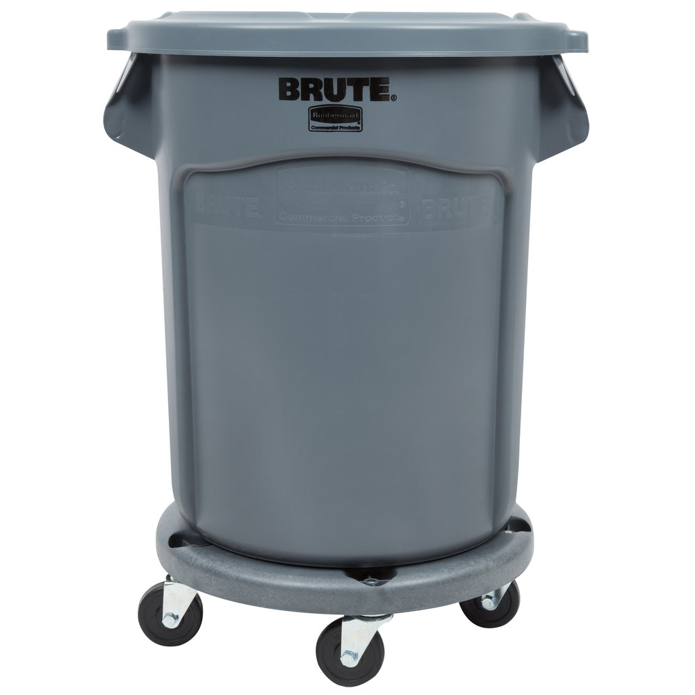Rubbermaid Brute 20 Gallon Gray Trash Can Lid And Dolly Kit