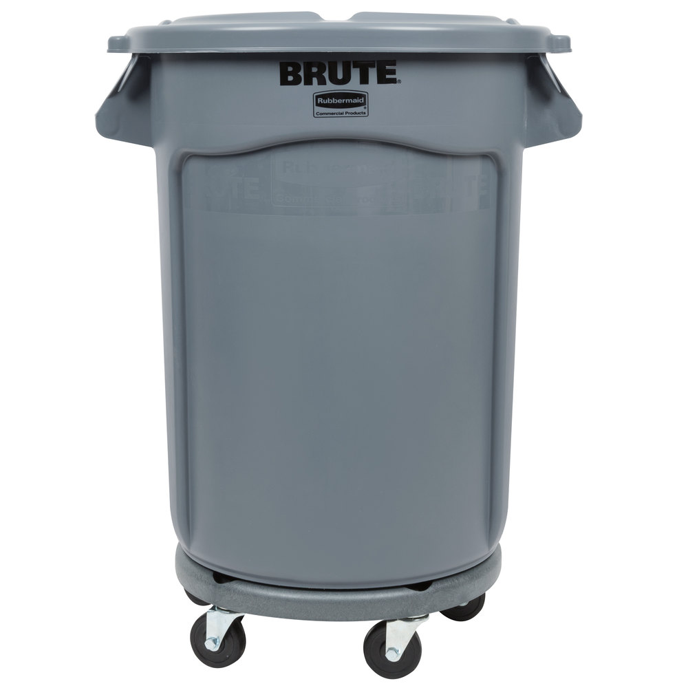 Rubbermaid Brute 32 Gallon Gray Trash Can Lid And Dolly Kit