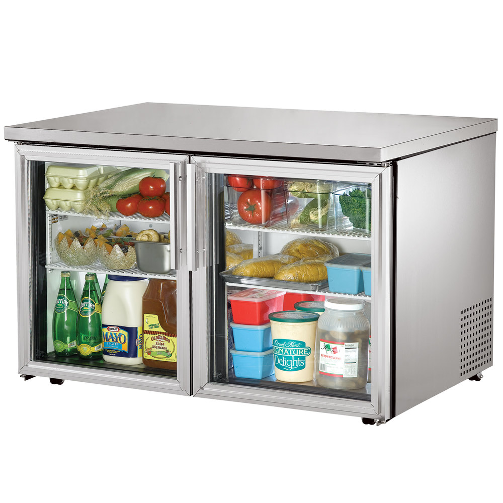 "True TUC-48G-LP-LD 48"" Low Profile Undercounter Refrigerator with Glass Doors"