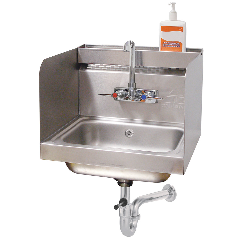 "Advance Tabco 7-PS-76 Hand Sink with 12"" High Side Splash Guards - 17 1/4"" x 15 1/4"""