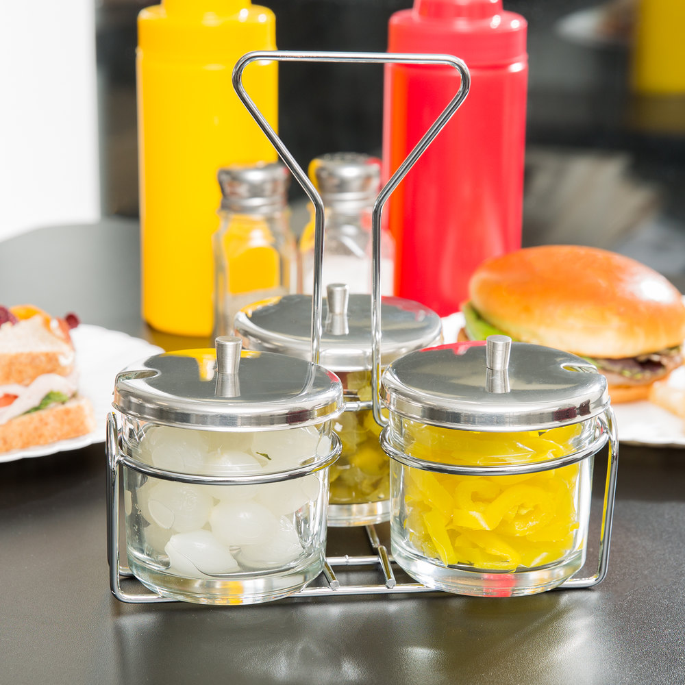 3 compartment wire condiment caddy with 7 oz glass jars and stainless steel lids. Black Bedroom Furniture Sets. Home Design Ideas