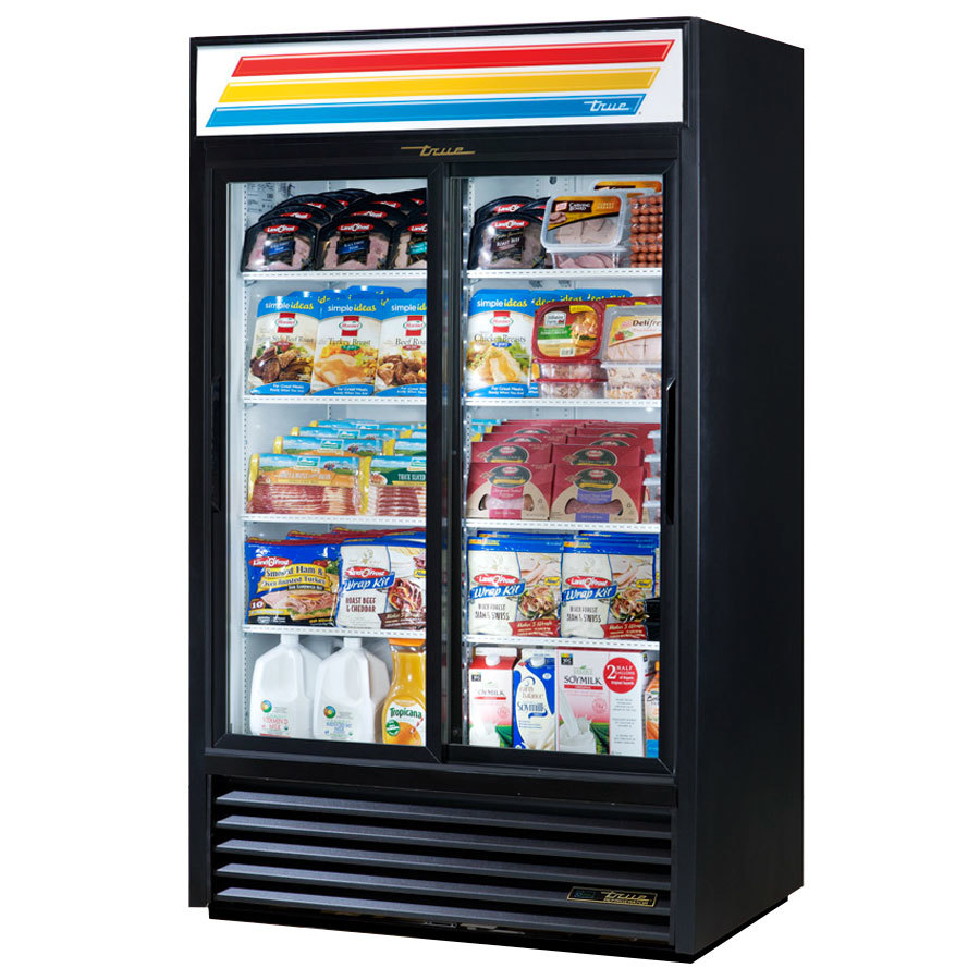 True Gdm 41 Hc Ld 47 Quot Black Refrigerated Sliding Glass