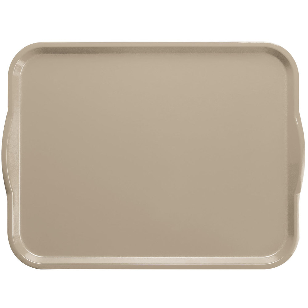 "Cambro 1418H199 14"" x 18"" Taupe Rectangular Fiberglass Camtray with Handles - 12/Case"
