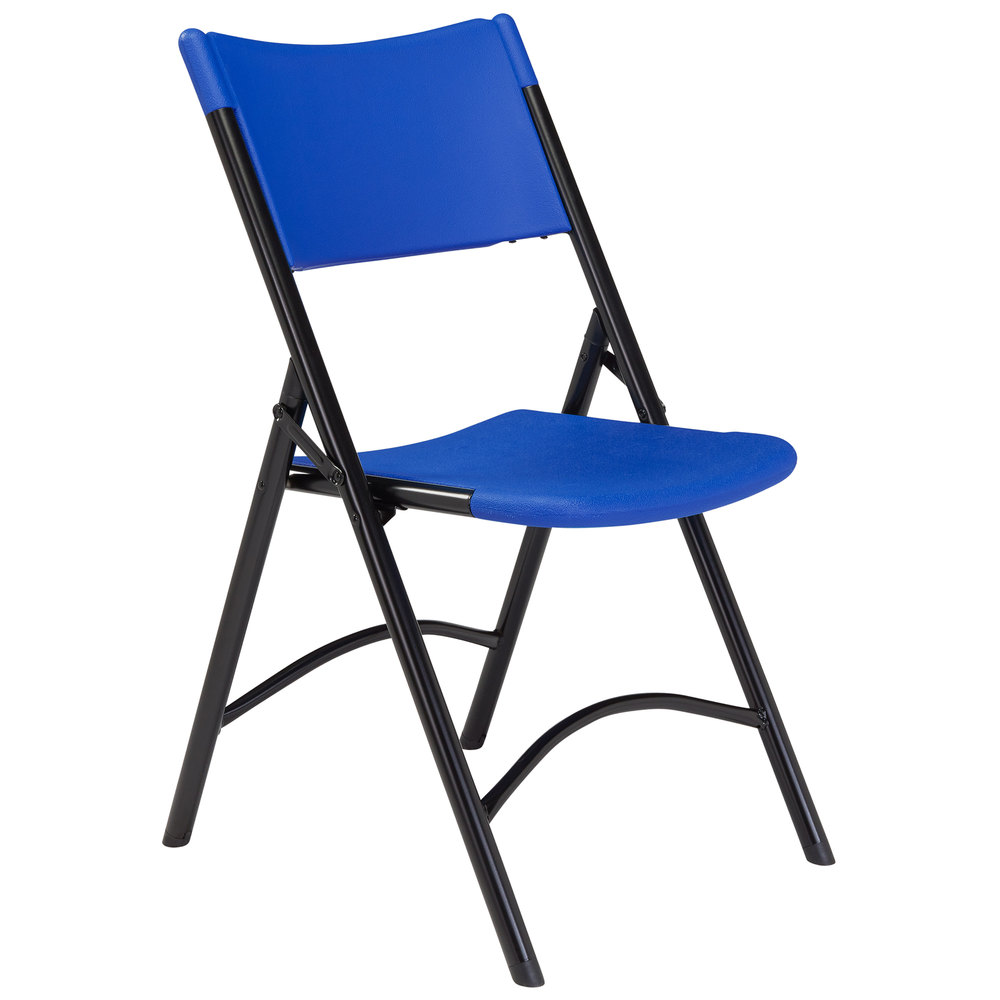 National Public Seating 604 Black Metal Folding Chair with ...
