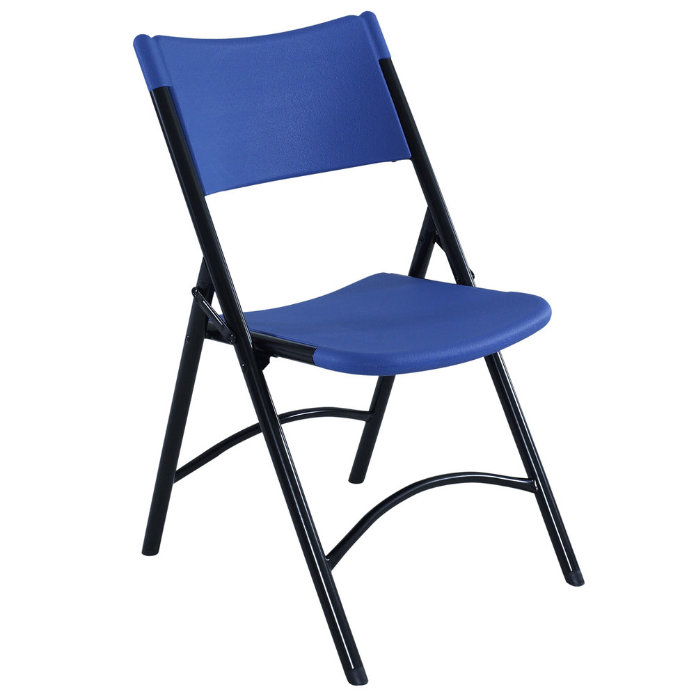 Black Metal Folding Chairs public seating 604 black metal folding chair with blue blow molded