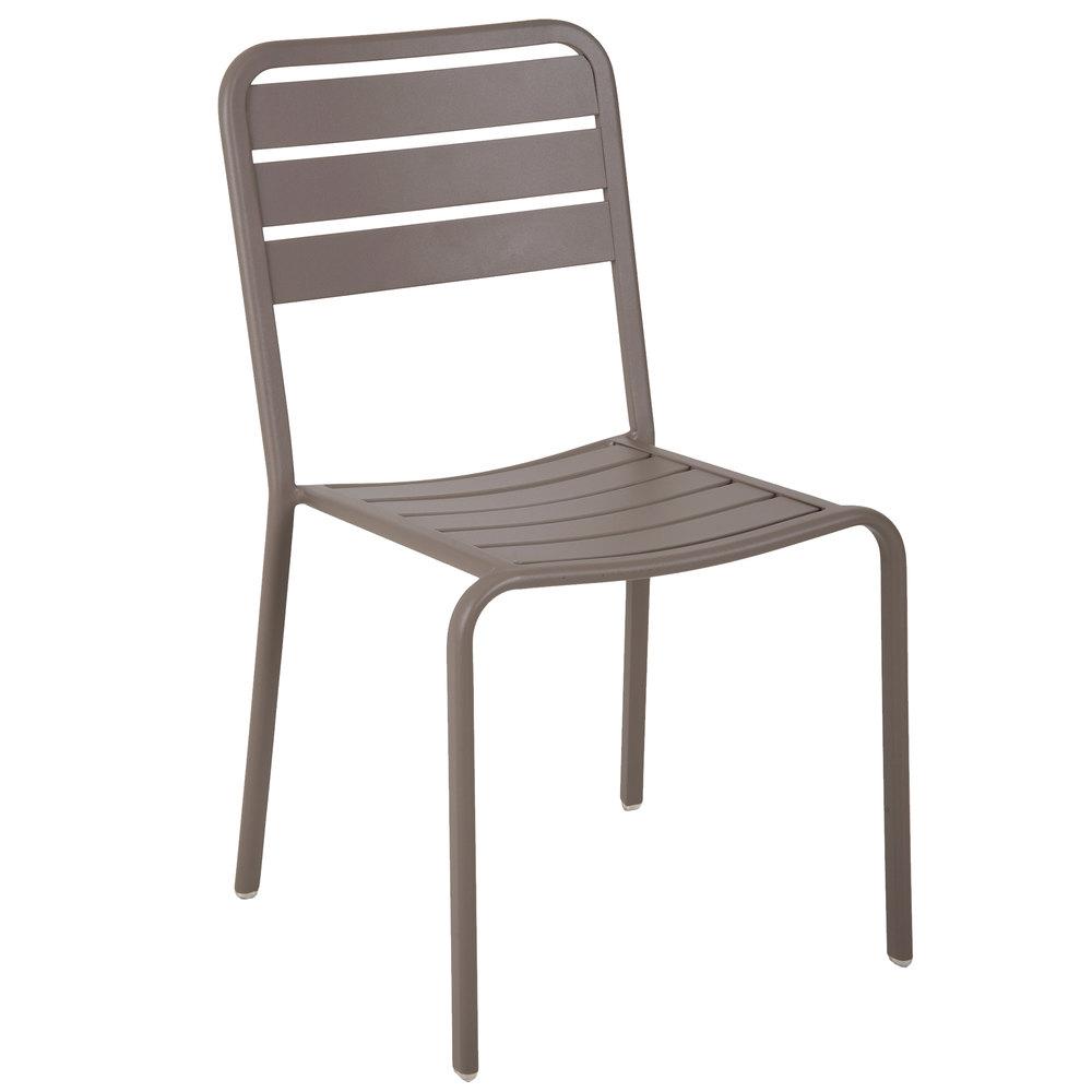 Aluminum outdoor chair - Bfm Seating Dv452er Vista Earth Stackable Aluminum Outdoor Indoor Side Chair