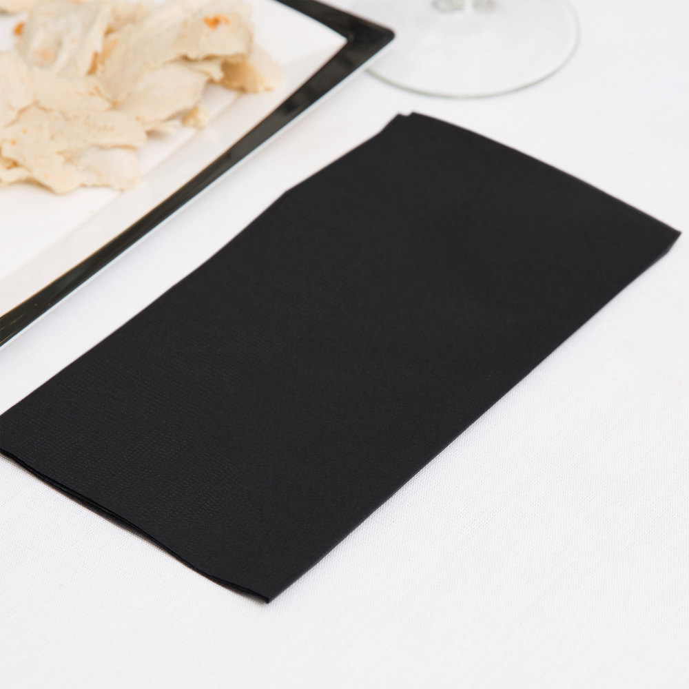 "Choice 15"" x 17"" Black 2-Ply Paper Dinner Napkins - 125 / Pack"