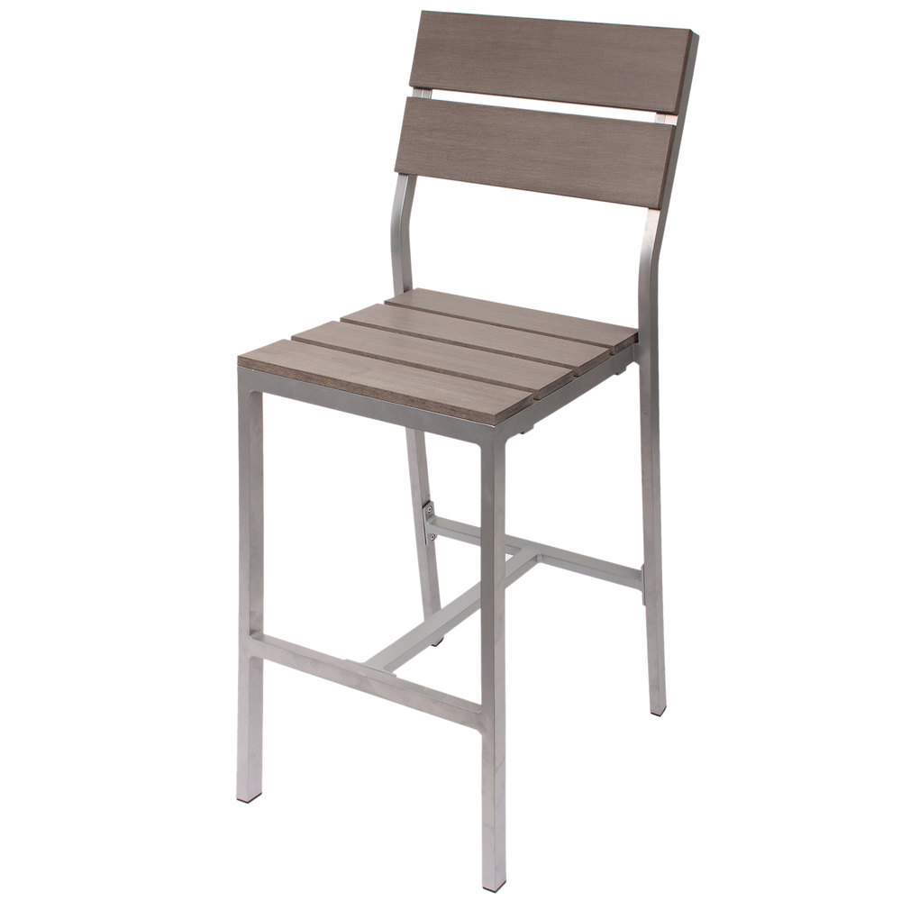 Aluminum outdoor chair - Bfm Seating Ph202bgrtk Sg Seaside Soft Gray Aluminum Outdoor Indoor Side Bar Height Chair With Gray Synthetic