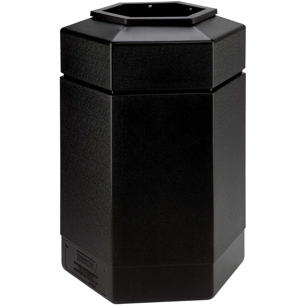 Industrial Garbage Containers : Commercial zone polytec gallon black hexagonal