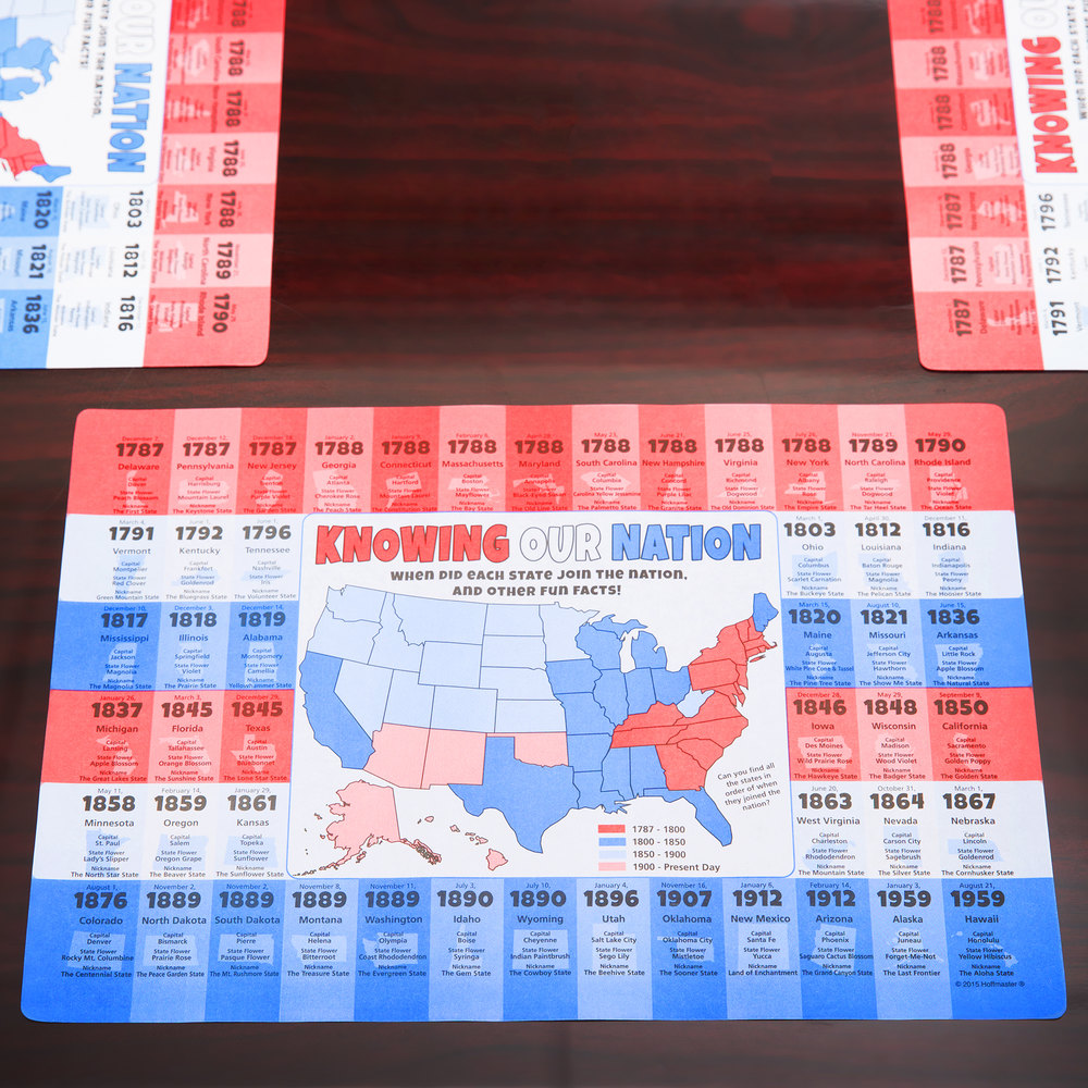 "Hoffmaster 311136 10"" x 14"" U.S. State Facts Placemat - 1000/Case"
