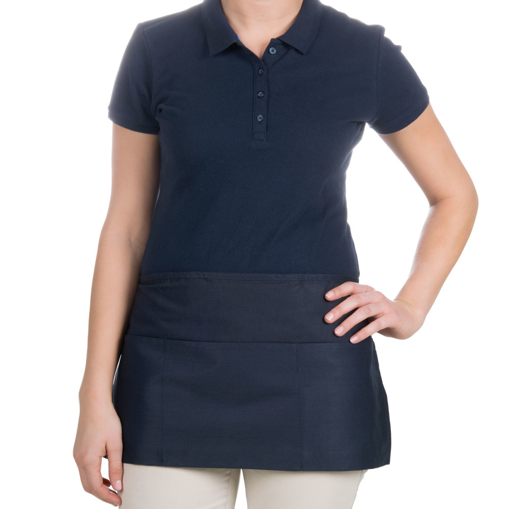 "Choice 12"" x 24"" Navy Blue Front of the House Waist Apron"
