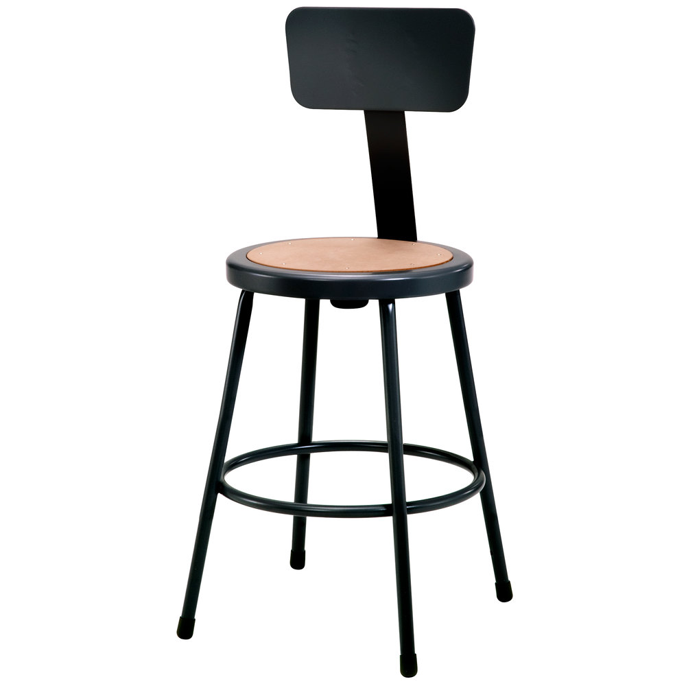 National Public Seating 6224b 10 24 Quot Black Round Hardboard