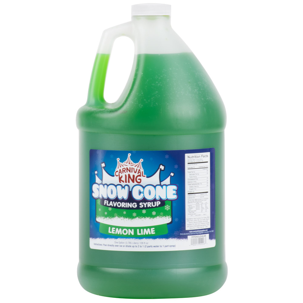 Carnival King 1 Gallon Lemon Lime Snow Cone Syrup - 4/Case