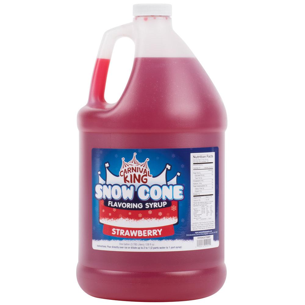 Carnival King 1 Gallon Strawberry Snow Cone Syrup - 4/Case