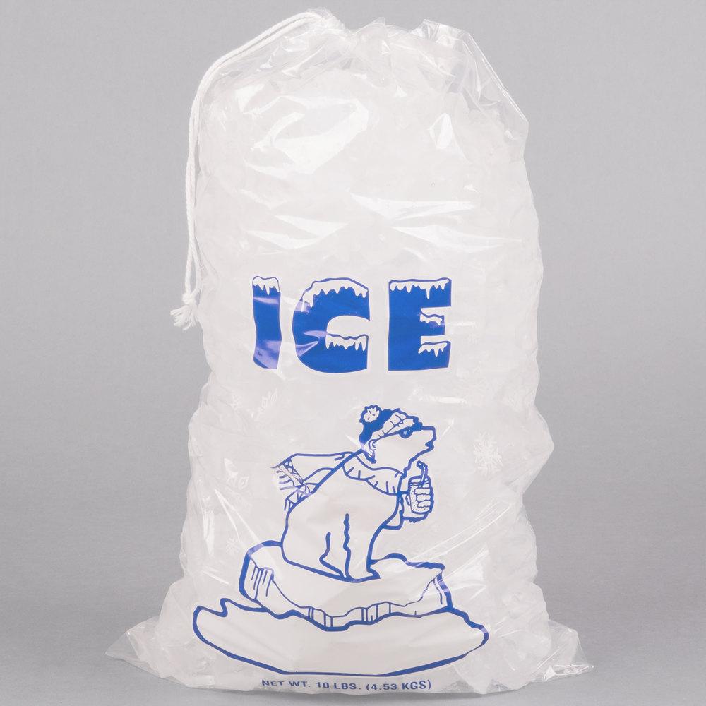 10 Lb Clear Plastic Drawstring Ice Bag With Polar Bear