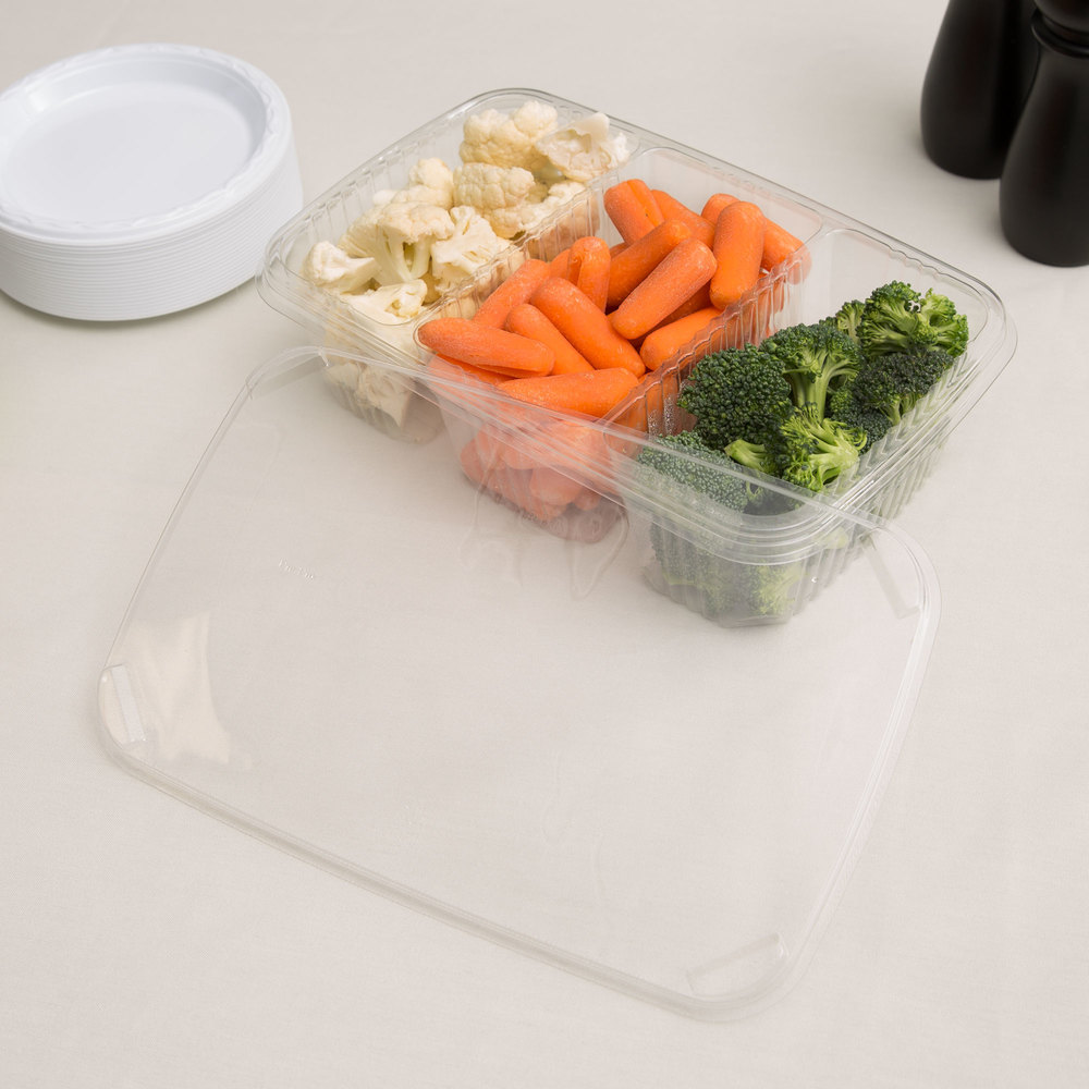 "Polar Pak 5RH076-3P-C 11"" x 7"" Clear 3 Compartment Plastic Deli Platter / Catering Tray with Lid - 10/Pack"