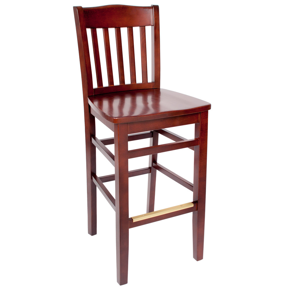 BFM Seating SWB303RM-RM Columbia Royal Mahogany Colored Beechwood Bar Height Chair