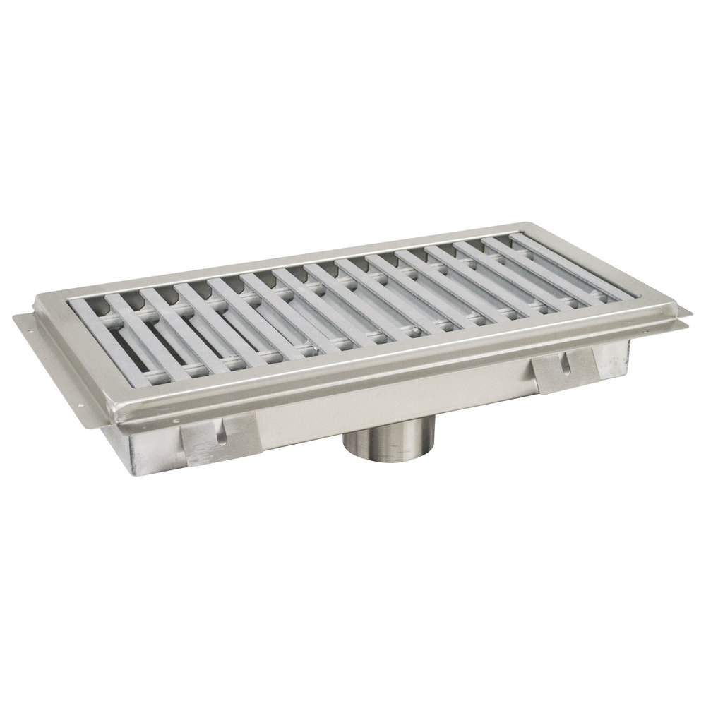"Advance Tabco FFTG-1224 12"" x 24"" Floor Trough with Fiberglass Grating"