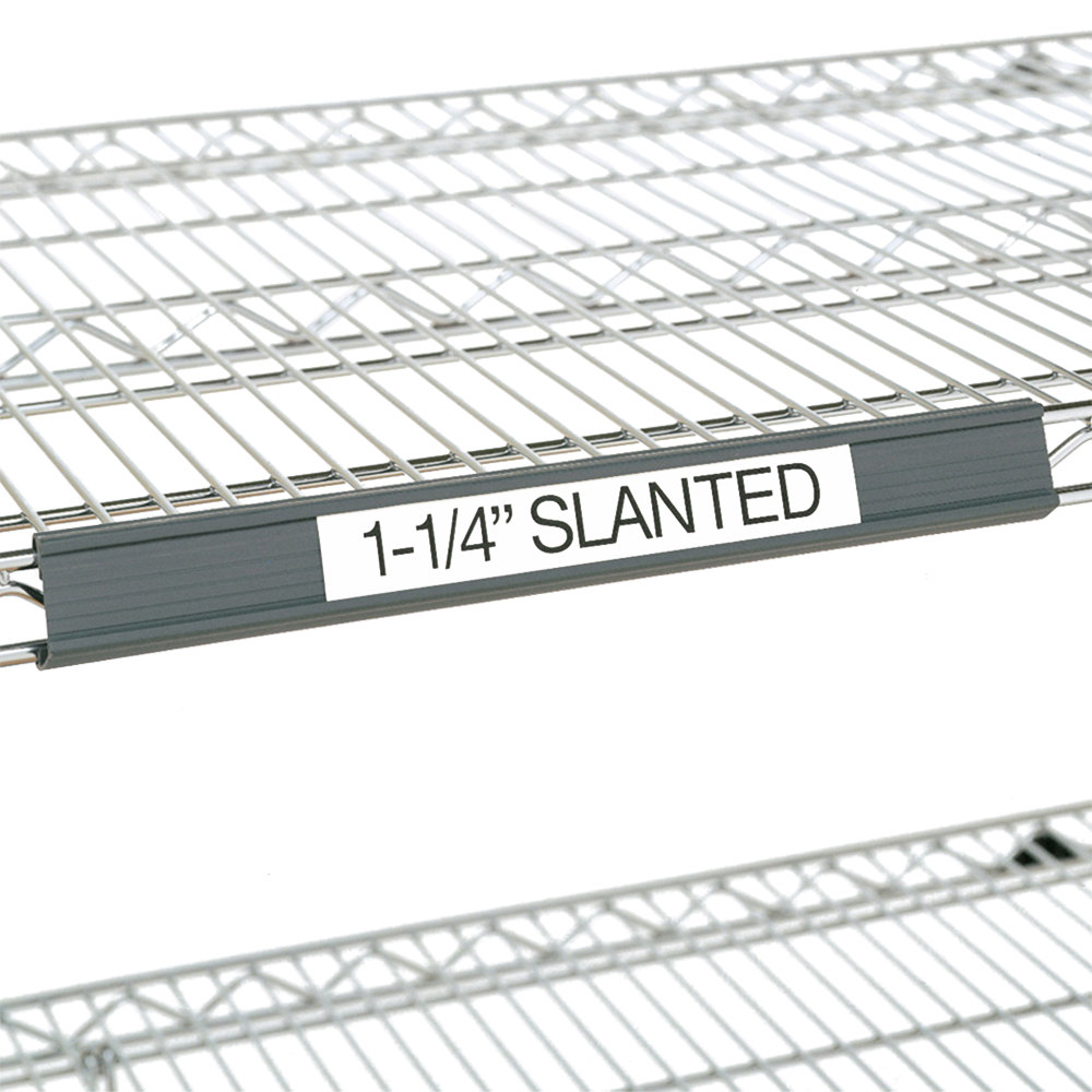 "Metro 9990SL4 Gray Slanted Plastic Label Holder 43"" x 1 1/4"""
