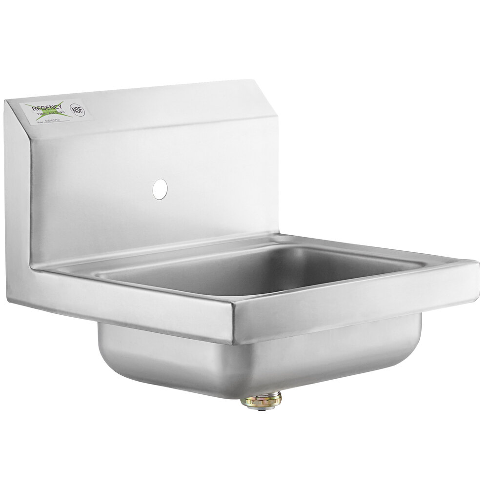 Regency 17 inch x 15 inch Wall Mounted Hand Sink for Hands-Free Faucet