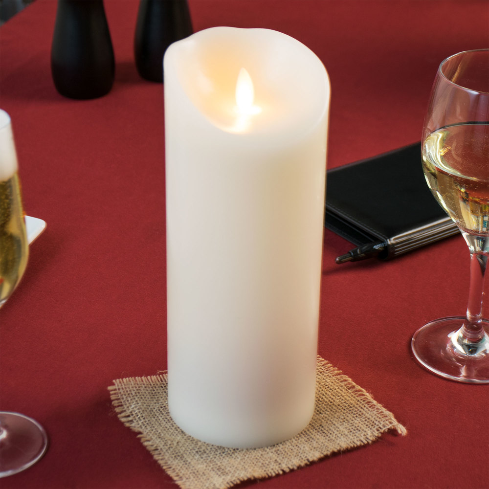 """Restaurant Table Lamps Battery Operated Sterno Products 60154 Mirage 9 1/2"""" Cream Programmable Flameless ..."""