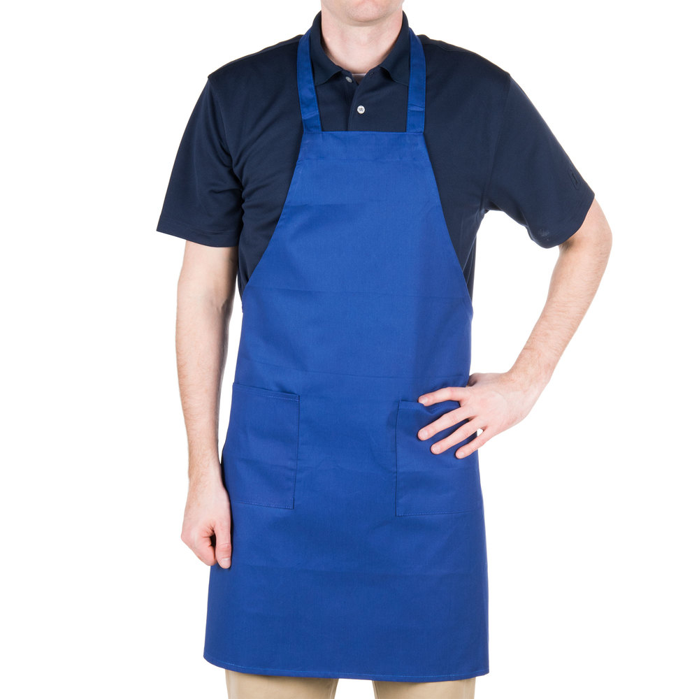 "Choice Royal Blue Full Length Bib Apron with Pockets - 34""L x 30""W"