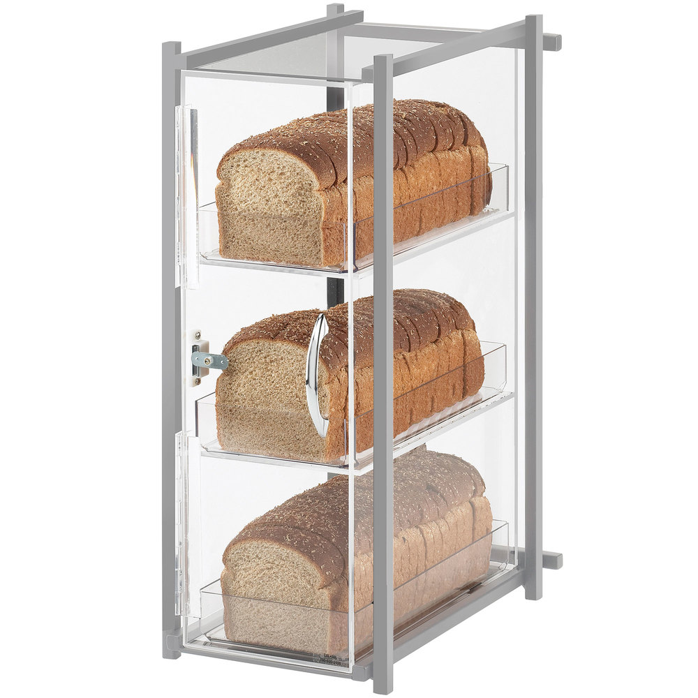 "Cal-Mil 1155-74 One by One Three Tier Silver Bread Display Case - 9 1/2"" x 14 1/4"" x 19 3/4"""