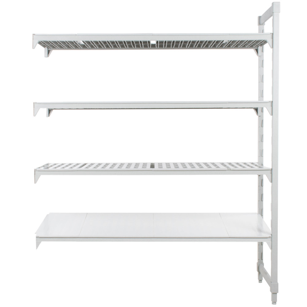 "Cambro CPA186084VS4PKG480 Camshelving Premium Stationary Add-On Shelving Unit with 3 Vented Shelves and 1 Solid Shelf - 18"" x 60"" x 84"""