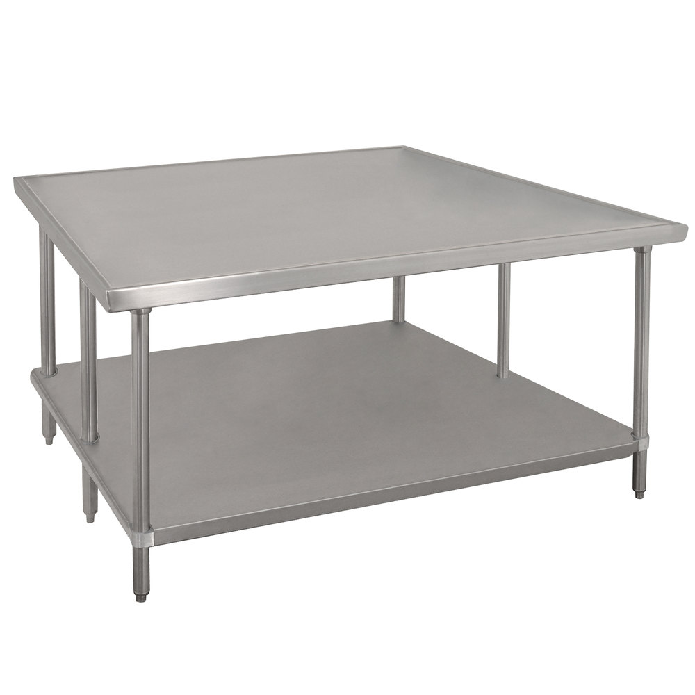 "Advance Tabco VLG-487 48"" x 84"" 14 Gauge Stainless Steel Work Table with Galvanized Undershelf"