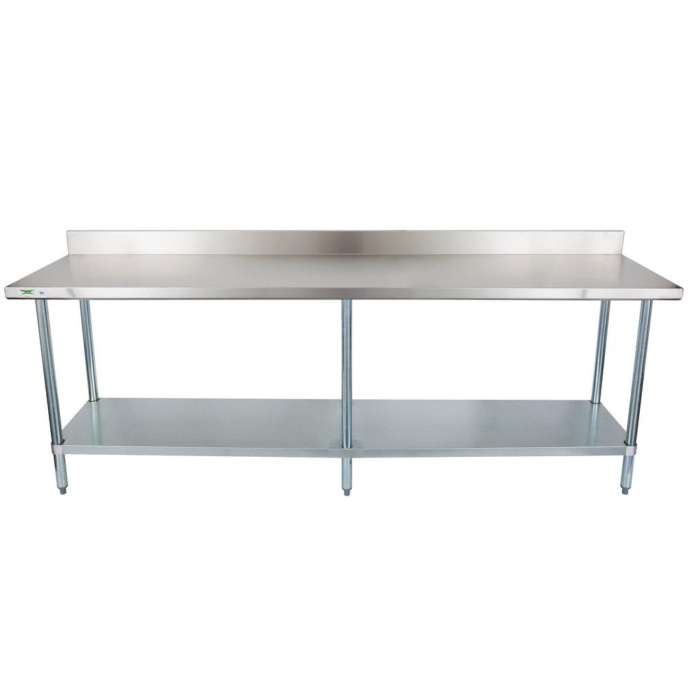 regency 24 x 96 18 gauge 304 stainless steel commercial work table with 4 backsplash and galvanized undershelf