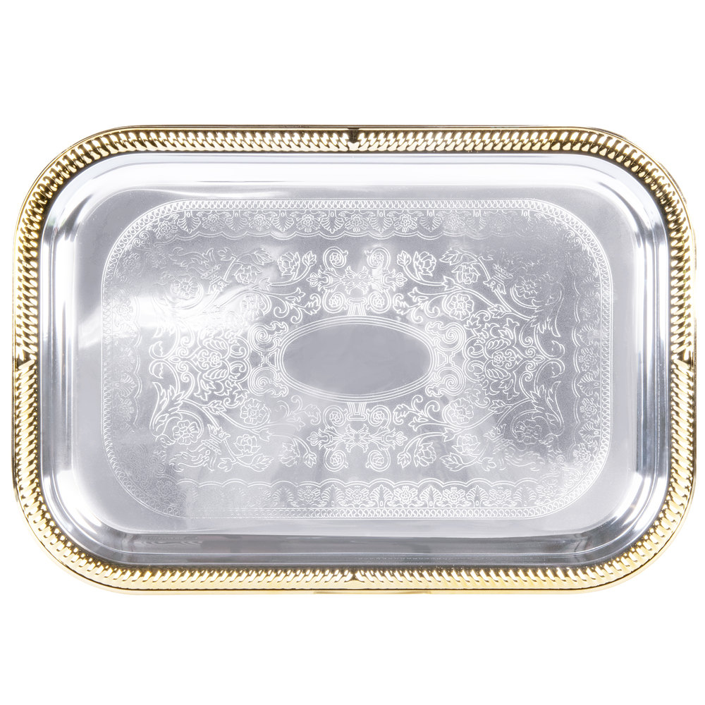 "Vollrath 47260 Odyssey 18 1/4"" x 12 1/4"" Rectangular Gold Trim Metal Catering Tray"