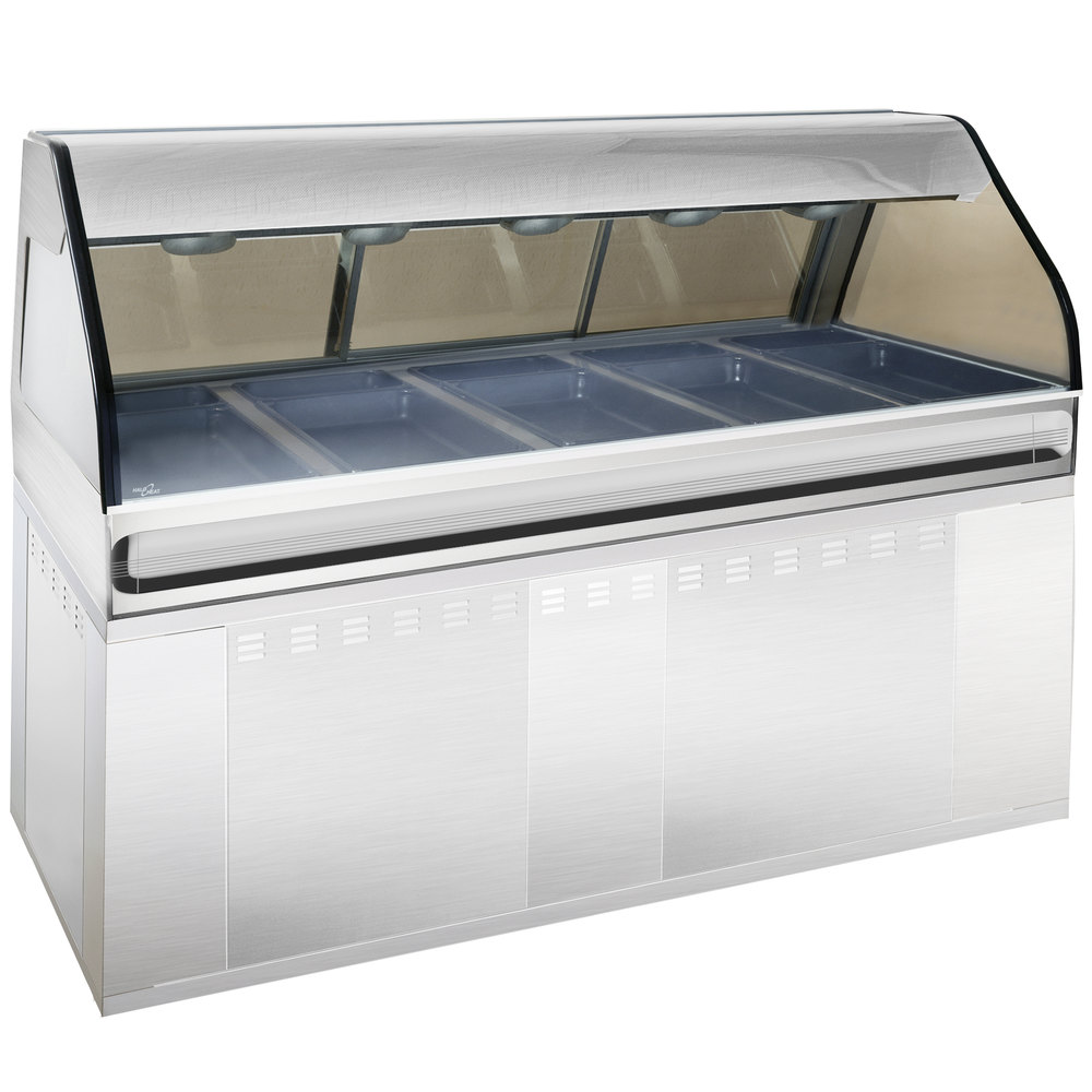 Alto-Shaam EU2SYS-72 SS Stainless Steel Cook / Hold / Display Case with Curved Glass and Base - Full Service, 72""