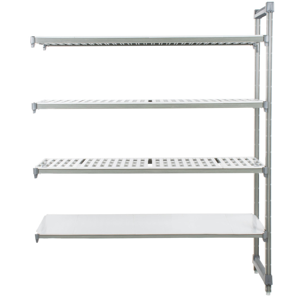 "Cambro EA213672VS4580 Camshelving Elements Stationary Add-On Shelving Unit with 3 Vented Shelves and 1 Solid Shelf - 21"" x 36"" x 72"""