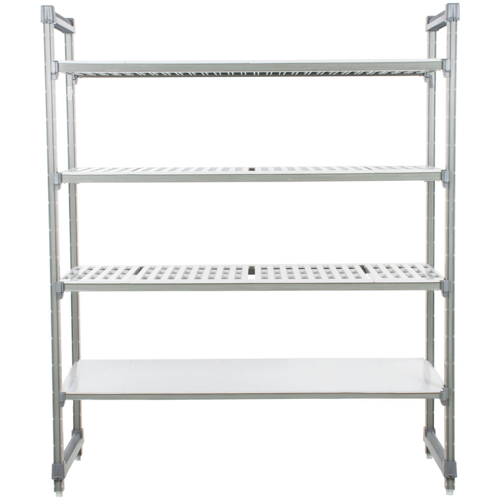 "Cambro ESU244872VS4580 Camshelving Elements Stationary Starter Unit with 3 Vented Shelves and 1 Solid Shelf - 24"" x 48"" x 72"""