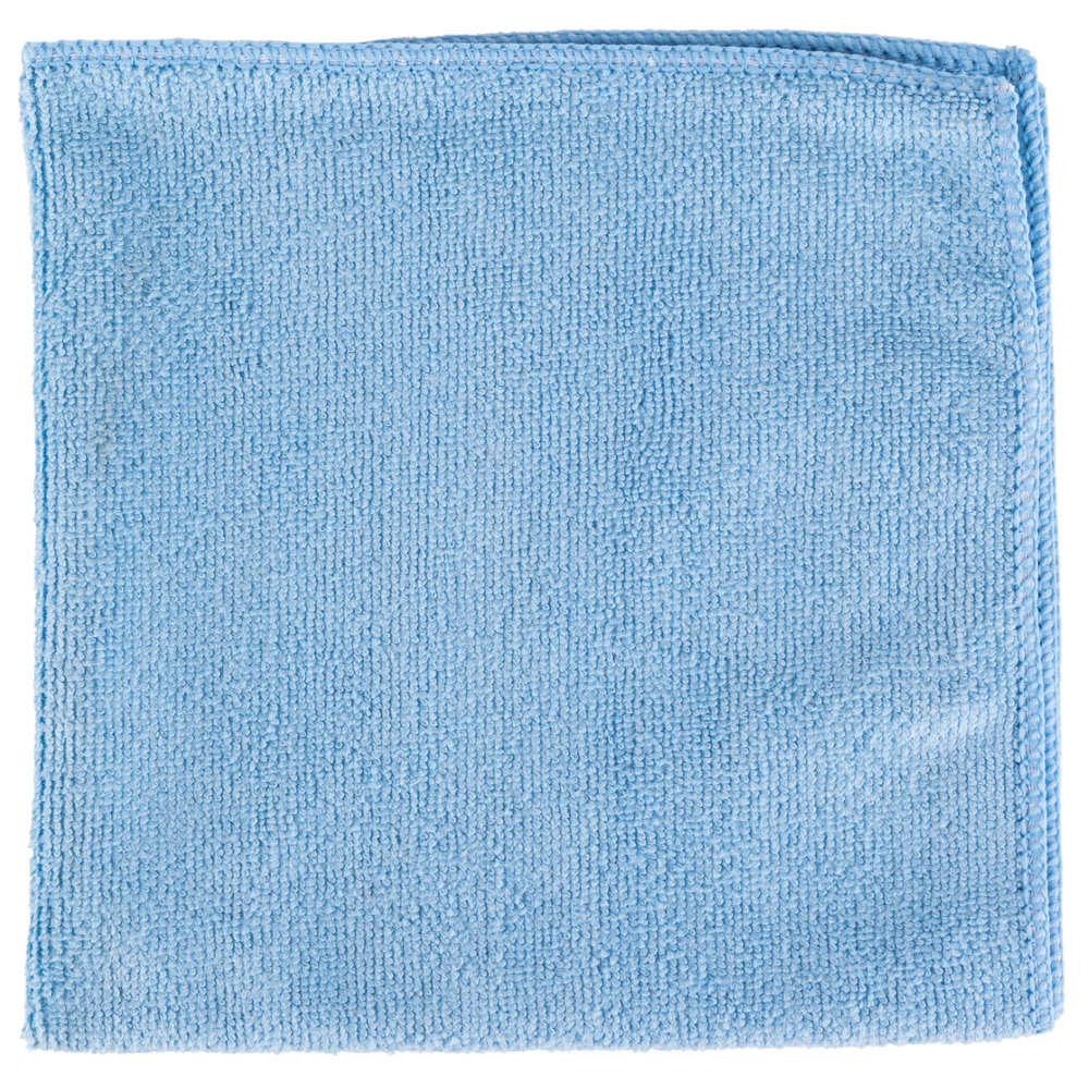 "Unger ME40B SmartColor MicroWipe 16"" x 16"" Blue UltraLite Microfiber Cleaning Cloth"