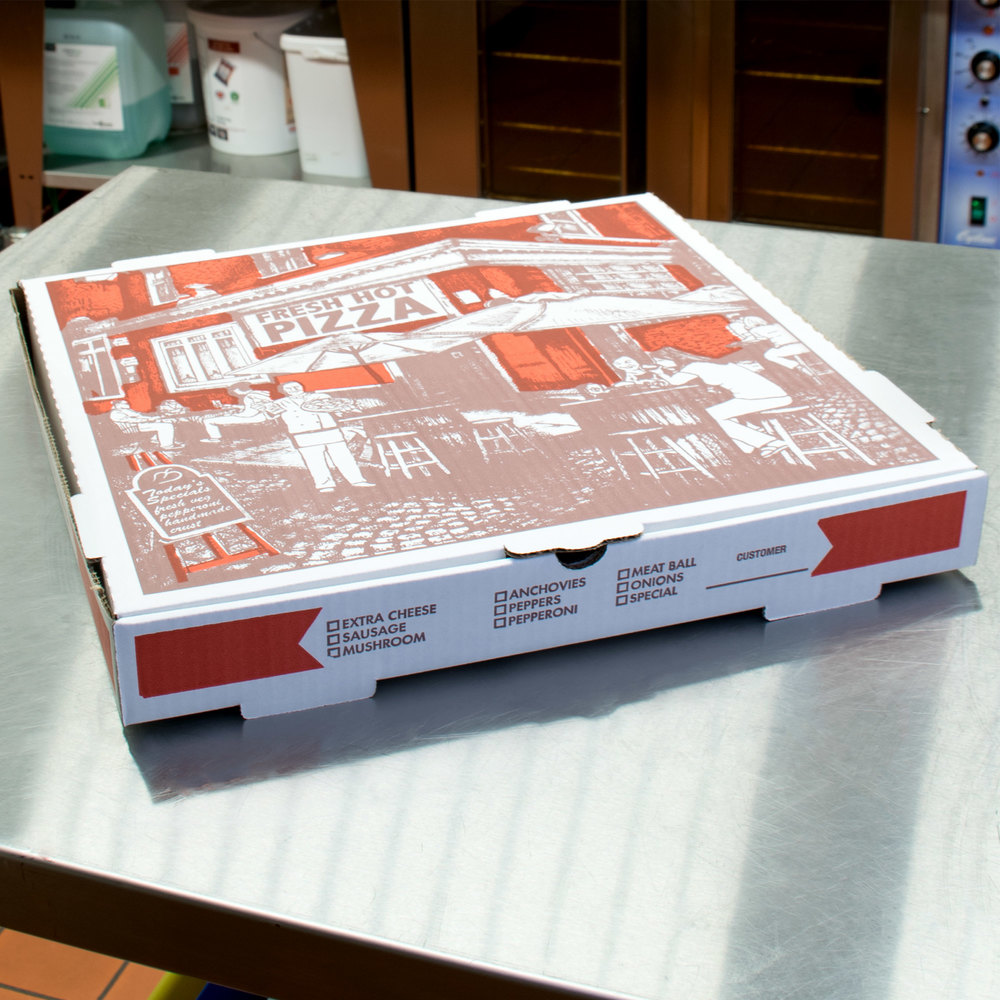 "16"" x 16"" x 1 3/4"" White Corrugated Pizza Box - 50/Case"